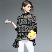 blusas do quarto preto venda por atacado-Novas Mulheres Gola Chiffon Camisas Blusa Primavera New Three Quarter Manga Diamantes Botão Blusa para As Mulheres blusas Pretas