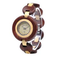 madera delgada al por mayor-BEWELL 2019 Reloj analógico de cuarzo ultra fino para mujer con pulsera de madera W010A 1pcs / free (Multi-colores)