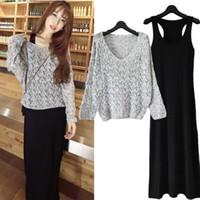 uzun kollu elbiseli iki renk toptan satış-Maikun Yeni Marka Kadınlar İki Adet Elbise Uzun Kollu Örme üst uzun Etek Elbise Ortalama 3 Renkler