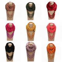 Wholesale women muslim scarf winter for sale - Group buy Chiffon Scarf Women Spring Winter Pearls Pendant Scarf Necklace Foulard Female Jewelry Women s Scarves Hijab Muslim