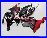 carenagem zx7r vermelho preto venda por atacado-Chamas vermelhas preto Kit de carenagem para KAWASAKI Ninja ZX7R ZX-7R 96 99 00 03 ZX 7R 1996 2000 2003 Carenagens