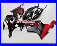 ingrosso zigrinatura nera zx7r-Fiamma rossa kit di carenatura per KAWASAKI Ninja ZX7R ZX-7R 96 99 00 03 ZX 7R 1996 2000 2003 Set carenature