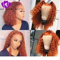 Wholesale curly red synthetic wigs resale online - short loose curly Synthetic wigss orange Curly Lace Front wigs Heat Resistant Fiber Curly density Synthetic Lace Front wigs