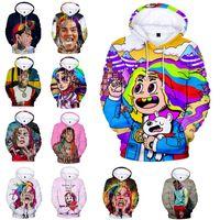suéter de manga larga arranca al por mayor-Famoso RIP 6ix9ine Hoodie 3D Color Digital Impreso de manga larga Dentro de Fleece Casual Pullover Hoodie Suéter Sudadera Chaqueta Tops (XXS-4XL)