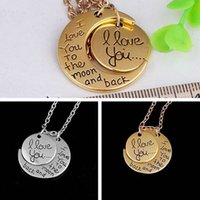 Wholesale sister gifts resale online - Moon Necklace I Love You To The Moon And Back For Mom Sister Family Pendant Link Chain Party Favor Gifts Free DHL WX9