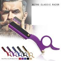 maquinillas de afeitar para barbero al por mayor-Manual de acero inoxidable Razors Straight Edge Barber Razor Vintage Classic Travel Home Barber Razor Barba Afeitado Herramientas de eliminación de pelo GGA2367