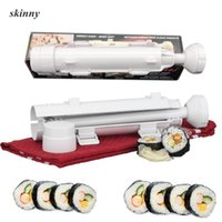 fabricante de sushi de molde de arroz venda por atacado-Roller Sushi maker Rolo Mould Fazendo Kit de Sushi Bazuca Arroz Carnes Legumes DIY Fazendo Cozinha Ferramentas Gadgets Acessórios