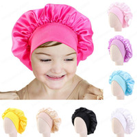 chapéu de banda de envoltório venda por atacado-Meninas crianças cetim noite de sono Cap Turban Wide Band Elastic Headwear Bonnet Beanie Lenço Hat Head Enrole Hair Care Tampa 1-6Year