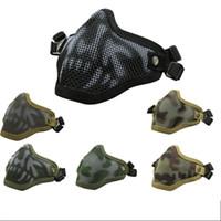 metal kafatası maskeleri toptan satış-Açık Taktikler için Maske Taşınabilir Metal Örgü Kafatası Yarım Yüz Maskeleri Konfor Spor Malzemeleri Giymek 17 5js BB