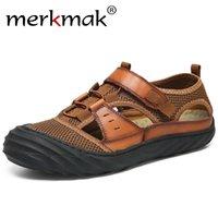 zapatos rapidos al por mayor-Merkmak cuero genuino verano hombres sandalias al aire libre playa zapatos casuales sandalias de secado rápido zapatos para caminar de protección de gran tamaño