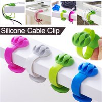 cordons d'ordinateur achat en gros de-Silicone Cable Clip Office Headphone Multi-Functional Cable Clip