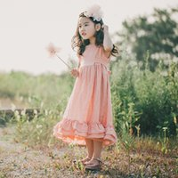 vestido de linho de uma peça venda por atacado-2018 verão lençóis de algodão nova garota longo vestido crianças sem mangas vestido de princesa meninas encantadoras de uma peça crianças sundress T191006