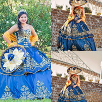 México Detalle De Lujo Del Bordado Del Oro Quinceañera Vestidos De Quinceañera 2019 Mascarada Balón Vestido Royal Blue Dress Sweety 16 Prom Party