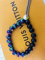 grünes opal perlenarmband großhandel-Großhandel Top Perlen Armband brandneuen Luxus Titan Stahl Armband Mode für Männer und Frauen Mode für Männer Marke Armband