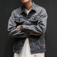 chaqueta de mezclilla gris de los hombres al por mayor-2019 New Spring Men's Casual Hip Hop Style Loose Denim Jacket Jacket Hombres, Color sólido Gris Hombre Cowboy Casual M-XXL