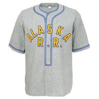 ingrosso pullover autentici di baseball della nave-Personalizzata maglia Alaska Railroad 1948 autentica QUALSIASI NOME O QUALSIASI NUMERO GRIGIO XS-5XL spedizione gratuita