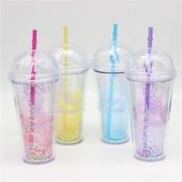 eko su şişeleri toptan satış-Pul Plastik Su Şişesi 520 ml Glitter Plastik Spor Saman Su Şişesi Elmas Şekli ile Çevre Dostu Kapaklı Saman Su Şişesi