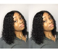 Wholesale african american human hair bob wigs for sale - Group buy 8a brazilian Hair this hairstyle African American short bob kinky curly wigs Simulation Human Hair curly wig