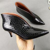 neue fersensohlen großhandel-Billig Schuhe Neuankömmling Spitzfinger V Mund Sohle Größe Kleiner Sprung Hoch Von Frauen Springen Feine Patent Snake High Heel Schuhe