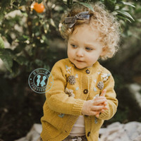 Wholesale yellow top kids clothing resale online - Winter Girl clothes Sweater Cardigan Good Design Stereo Flower Winter Knitted Long Sleeve sweater coat Warm Kids top fall sweaters
