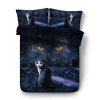 gato adulto set venda por atacado-Mystic night sky e cat impressão capa de edredão set 4/6 pcs conjuntos de cama de gato preto Único Completa Rainha king size roupa de cama roupa de cama 3d
