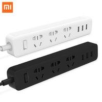 elektrik şeritleri toptan satış-Orijinal Xiaomi Akıllı Ev Elektronik Güç Şeridi Soket Hızlı Şarj 3 USB + 3 Prizler Standart Fiş Arayüzü Uzatma AB ABD