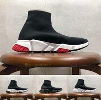 peúgas grandes da caixa venda por atacado-Com Box Big tamanho Designer Sneakers Speed Trainer Runner Preto Vermelho qualidade superior da triplos preto da forma plana Meias Botas Calçados casuais 36-47