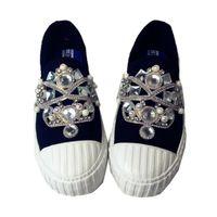 ingrosso scarpe di tela giapponesi-Strass moda nuova scarpe di tela piatte strass lusso heely scarpe semplice giapponese un pedale pigro