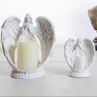 vintage kerzenständer großhandel-Vintage Kerzenständer Engel Kerzenhalter Elektronische Kerze Polyresin Kerzenständer Retro Wohnkultur Ornament Raum Hochzeit Dekoration