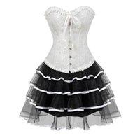 vestido de moda victoriana al por mayor-Gothic Burlesque corsé y falda conjunto más el tamaño de disfraces cosplay Victorian vestidos de novia de corsé Floral Fashion Clubwear Sexy