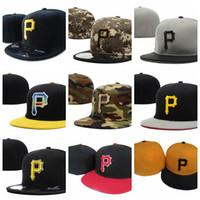 cap piratas al por mayor-La moda 2019 llega nueva en Piratas P letra Gorras de béisbol Gorros de hueso Hombres Hip Hop Sport Fitted Hats