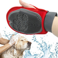 ingrosso spazzola doccia per animali da compagnia-Pet Brush Glove Cat Hair Brush Grooming Fur Rubber Removal Mittens Cucciolo di cane Lavaggio Cheaning Bath Brush Pettine Dog Massage Shower DHL
