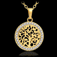 Wholesale leaf chains resale online - Classic Tree Of Life Leaves Small Pendant Necklace For Women Lucky Talisman Jewelry Gift