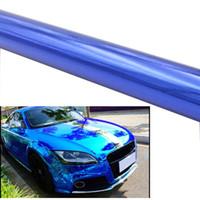 хром зеркало кузов автомобиля оптовых-Blue Car Electro покрытие фильм Chrome винил Wrap Зеркало Chrome фильм Наклейка с Air Bubble Free Фольга автомобиля обертывание тела Covers
