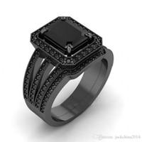 conjuntos de anillo de diamante negro vintage al por mayor-Victoria Wieck Moda Vintage Pareja anillos de joyería de 925 Fill Sterling Silverblack Oro corte princesa Multi Topaz CZ Diamond Bridal Ring Set