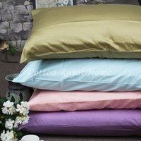 algodón egipcio satinado al por mayor-Funda de almohada con cubierta de almohada de 48 * 74 cm de color sólido satinado de algodón egipcio de los años 80