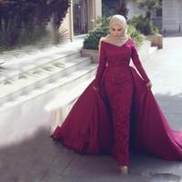 islamische kleider hijab großhandel-Lange Ärmel Spitze Perlen Formales Abendkleid Stehkragen Frauen Abnehmbarer Zug Islamische Dubai Saudi Arabisch Muslimische Meerjungfrau Hijab Abendkleid