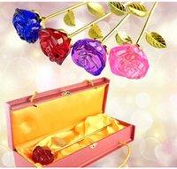 rote tischkristalle großhandel-Kristall Rose Blume mit 24K Gold langen Stiel Figuren Handwerk Hochzeit Valentinstag Geschenke Tischdekoration Ornamente