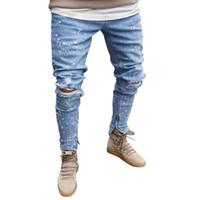 kovboy kot delikleri toptan satış-Erkek Biker Demin Jeans Stretch Ripped kovboy pantolonunuza baskılı cep Tasarım Moda yumuşak Sıska delik erkek için kot Tahrip