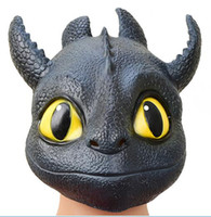 Wholesale latex face halloween mask for sale - Group buy How to Train Your Dragon head mask Children adult Halloween party cosplay Toothless Natural latex headgear Masks Toys GGA1683