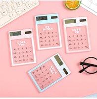 Wholesale general calculator for sale - Group buy Transparent cute cartoon digit calculator Solar energy mini Portable calculator School Supplies kawaii