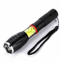 Wholesale NEW COB Zoom Adjustable LED Flashlights XM L T6 Lm rechargeable Camping Torches Zoomable Tactical Flashlight torch light