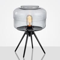 lampe de table moderne en résine achat en gros de-Europe Lampe De Table Fumée E27 En Verre En Métal Lumière De Bureau Ambre Gris Couleur Nuances Bureau Lampes de Bureau Table New Deco Pour Chambre E112