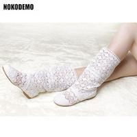 zapatos de crochet al por mayor-Las mujeres de punto plana mitad de la pantorrilla botas de ganchillo tamaño de los zapatos Mujer Pisos Plus para el verano