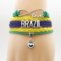 regalos de brasil al por mayor-BRASIL amor Pulsera corazón encanto pulsera amor brazil brazaletes de brazaletes de país para mujeres y hombres joyas regalo de cumpleaños