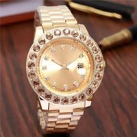 reloj de cuarzo noble al por mayor-Ventas calientes Moda reloj de lujo Mujeres marca de acero reloj de pulsera de cuarzo relojes de diseño para hombre Alta calidad 3A reloj automático Casual noble femenino
