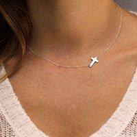gold elegantes kreuz großhandel-Einfache elegante Kreuz Choker Halskette Silber Gold Farbe Schlüsselbein Ketten Anweisung Halskette Frauen Schmuck