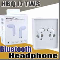 Wholesale E Arrival HBQ i7 TWS Twins True Wireless Earbuds Mini Bluetooth V4 DER Stereo Headset Sports Headphone For iPhone Galaxy S8