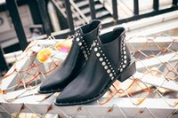 Wholesale thick heel boot shoes online - Autumn and winter women s large size pointed rivet short tide single boot thick heel women s Chelsea boots flat shoes Martin boo