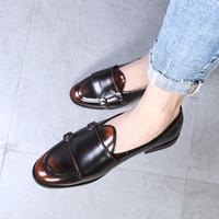 zapatos de estilo británico al por mayor-LAISUMK Fashion Monk Strap Zapatos de cuero para hombre Talla grande Estilo Británico Mocasín Zapatos planos casuales para Party Club 2019 Nuevo